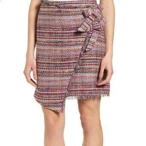 🆕 Halogen Multicolor Tweed Faux Wrap Pencil Skirt